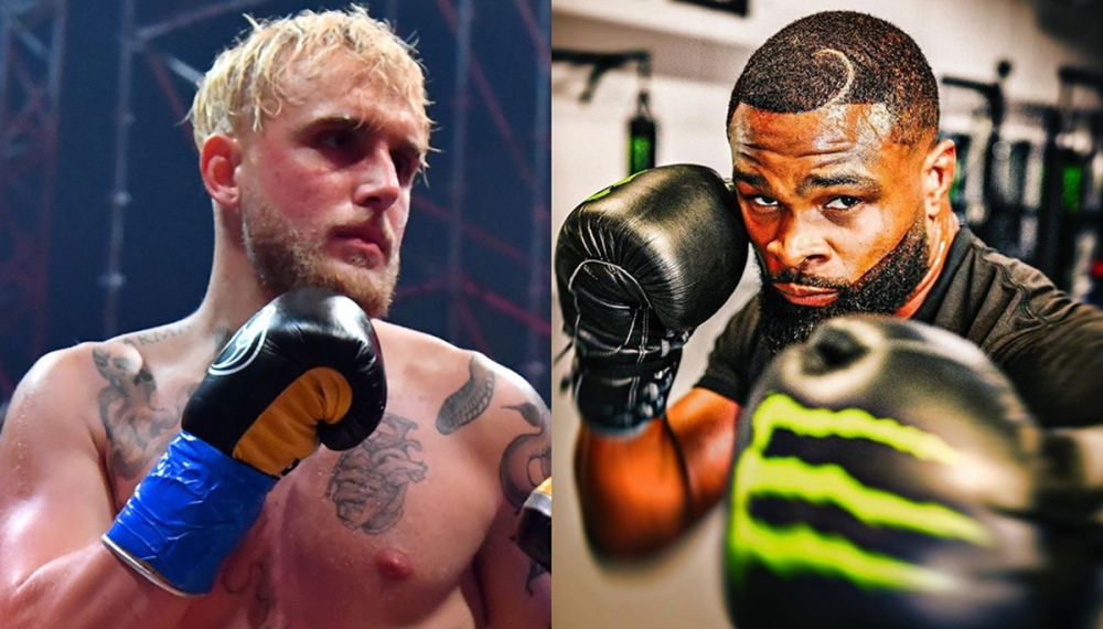 Jake Paul, Tyron Woodley trade verbal jabs during first faceoff